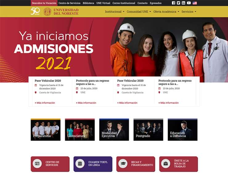 Universidad del Noreste - Página Web